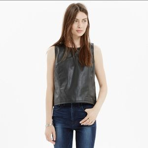 Madewell   Black Leather Crop Top Tank